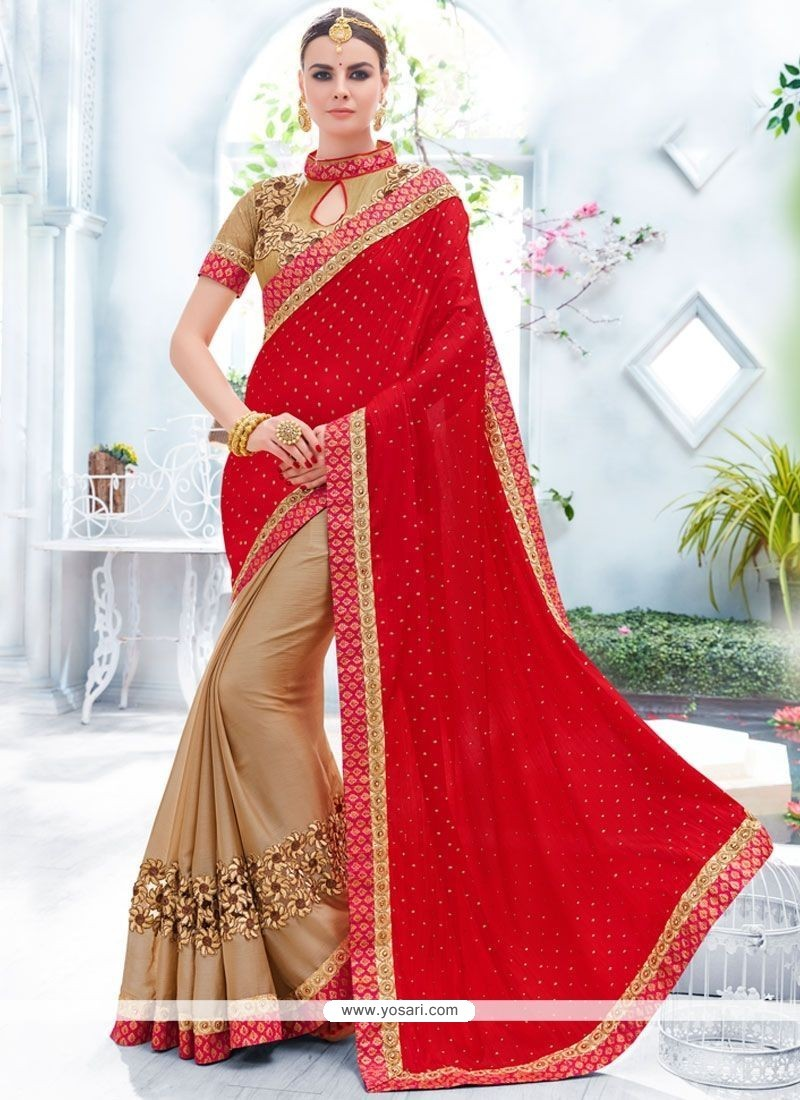 Precious Beige And Red Embroidered Work Faux Chiffon Designer Half N Half Saree