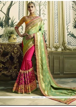 Fab Patch Border Work Crepe Jacquard Half N Half Trendy Saree