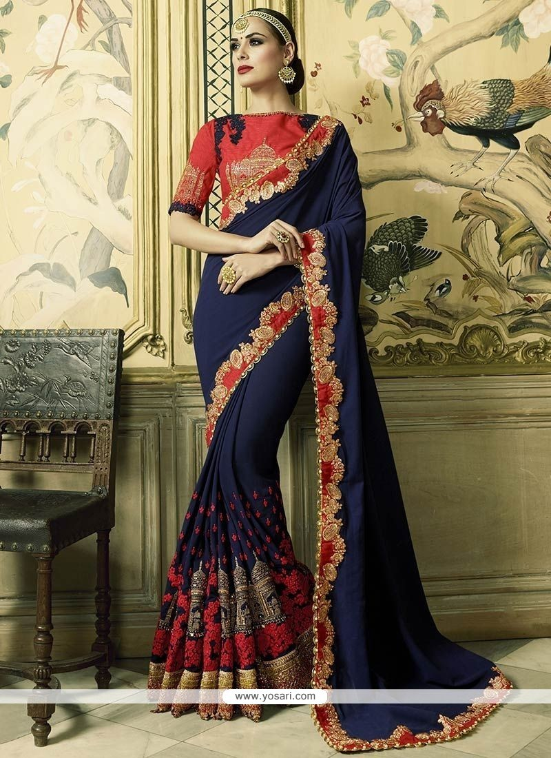 Delightsome Navy Blue Patch Border Work Faux Georgette Classic Designer Saree