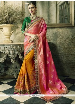 Festal Orange And Rose Pink Crepe Jacquard Designer Half N Half Saree