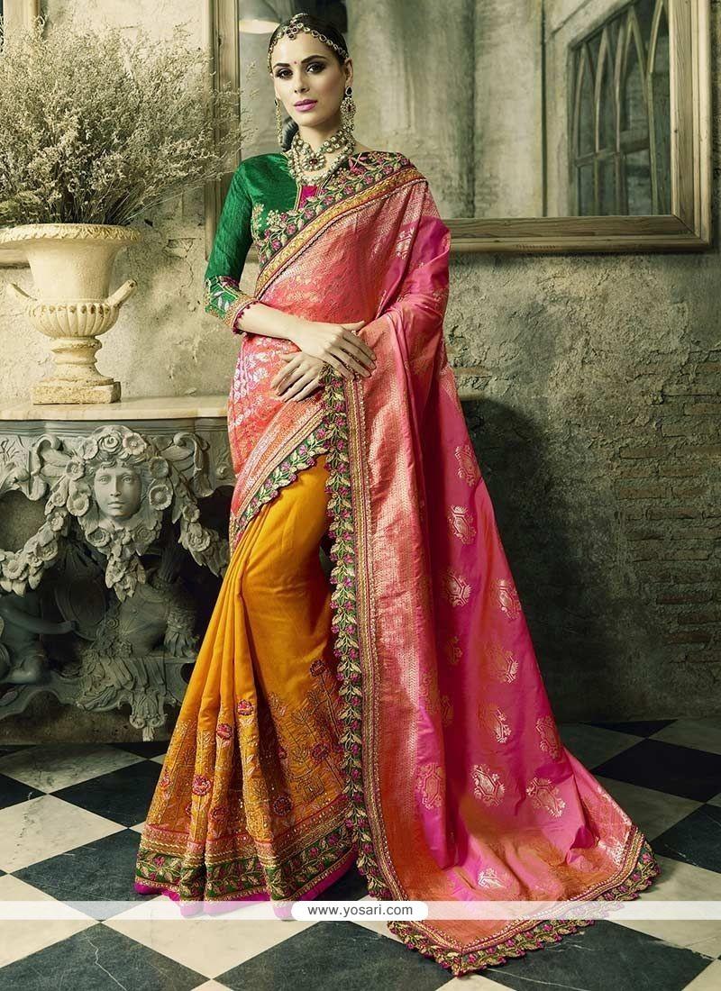 Festal Orange And Rose Pink Crepe Jacquard Designer Half N Half Saree