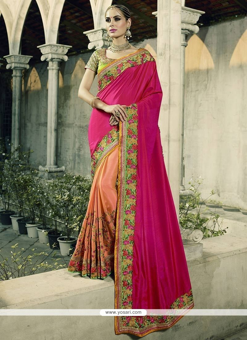 Intrinsic Hot Pink And Peach Patch Border Work Half N Half Saree