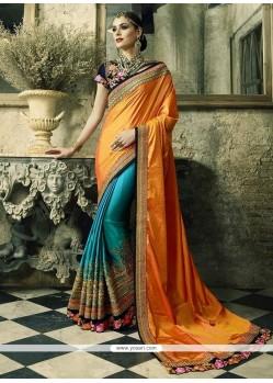 Baronial Crepe Silk Zari Work Designer Half N Half Saree