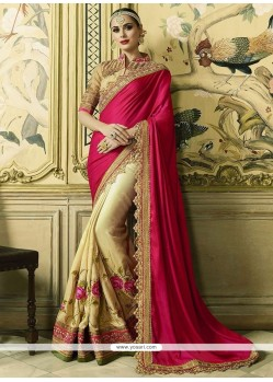 Modern Art Silk Patch Border Work Half N Half Trendy Saree