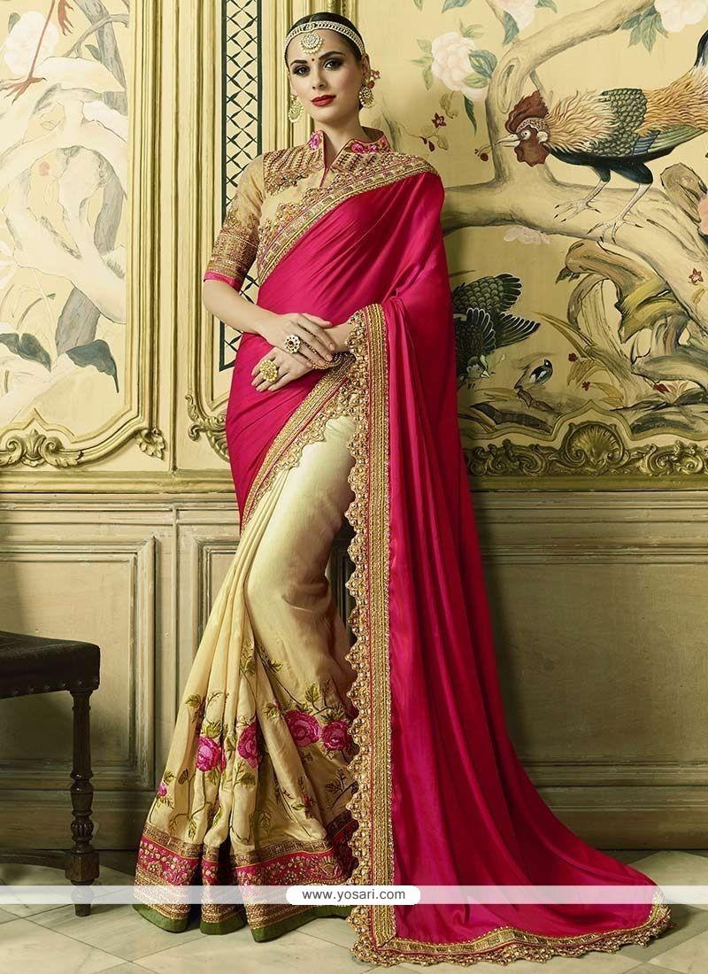 Modern Art Silk Patch Border Work Half N Half Trendy Saree