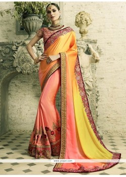 Surpassing Crepe Silk Peach And Yellow Half N Half Designer Saree