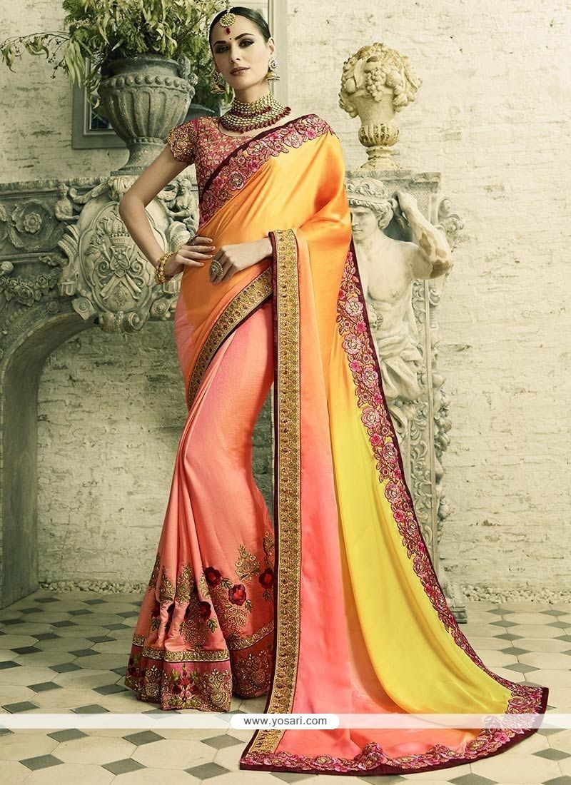 Surpassing Crepe Silk Peach And Yellow Half N Half Designer Saree