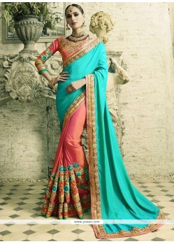 Flattering Crepe Silk Pink And Turquoise Patch Border Work Half N Half Saree