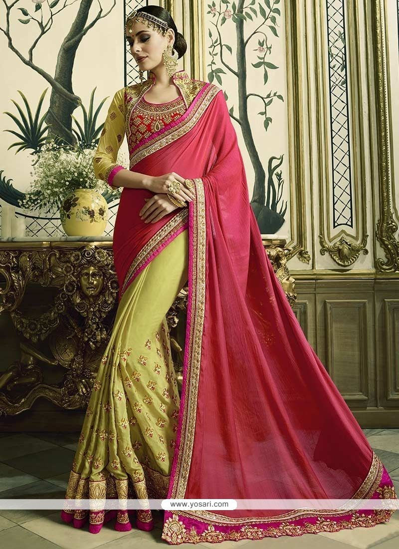 Phenomenal Faux Georgette Green And Pink Resham Work Designer Half N Half Saree