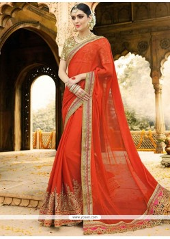 Appealing Orange Zari Work Faux Chiffon Classic Designer Saree