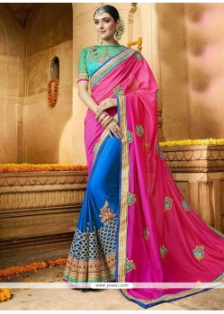 Miraculous Faux Georgette Blue And Hot Pink Half N Half Designer Saree