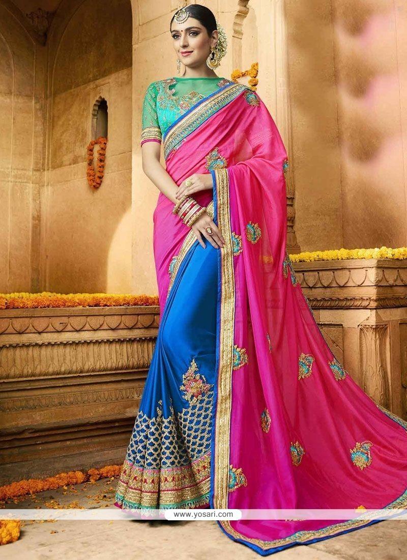 Miraculous Faux Georgette Blue And Hot Pink Half N Half Designer Saree