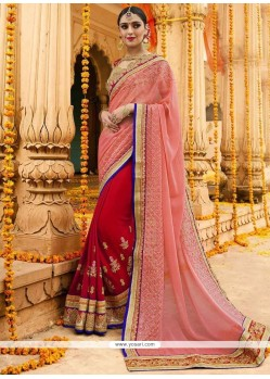 Patch Border Faux Chiffon Designer Half N Half Saree In Magenta And Pink