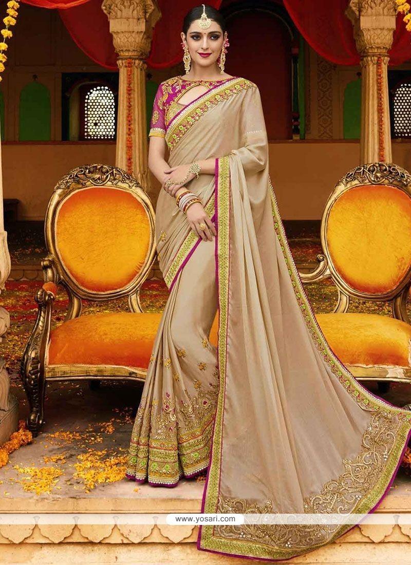 Festal Beige Satin Classic Designer Saree