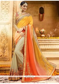 Girlish Satin Beige, Orange And Yellow Zari Work Half N Half Designer Saree