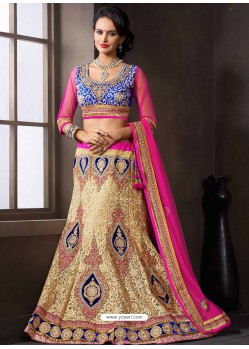 Cream And Blue Net Designer Lehenga Choli
