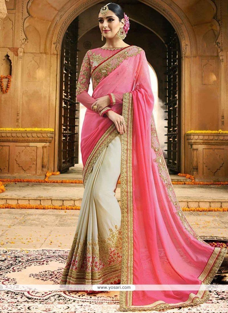 Glossy Satin Beige And Pink Half N Half Saree