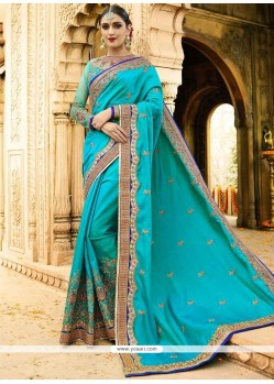 Embroidered Satin Designer Saree In Turquoise