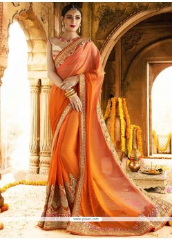 Awesome Faux Chiffon Orange Classic Designer Saree