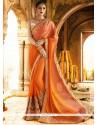 Awesome Faux Chiffon Orange Classic Designer Saree
