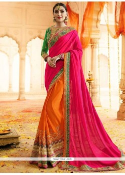 Brilliant Faux Georgette Resham Work Designer Half N Half Saree