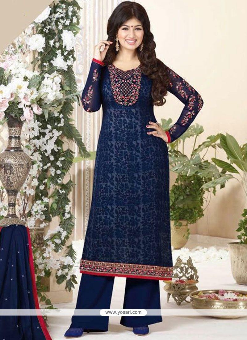 Ayesha Takia Embroidered Work Navy Blue Palazzo Designer Suit