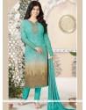 Ayesha Takia Embroidered Work Turquoise Churidar Suit