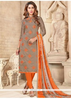 Cherubic Embroidered Work Chanderi Cotton Beige And Orange Churidar Suit
