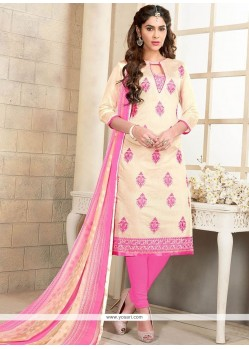 Sumptuous Embroidered Work Chanderi Cotton Pink Churidar Suit