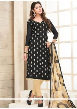 Customary Embroidered Work Black Chanderi Cotton Churidar Suit