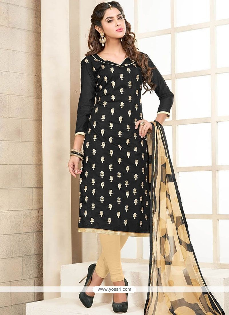 Customary Embroidered Work Black Chanderi Cotton Churidar Suit