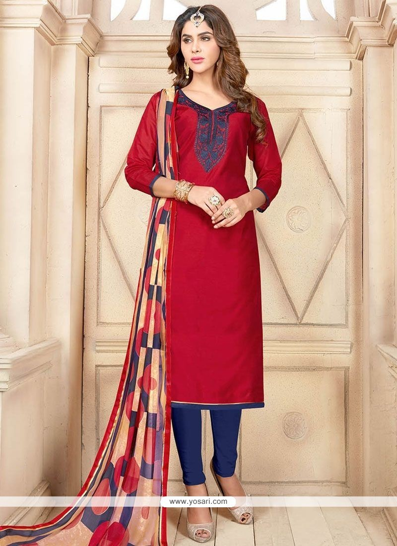 Sightly Navy Blue And Red Chanderi Cotton Churidar Suit