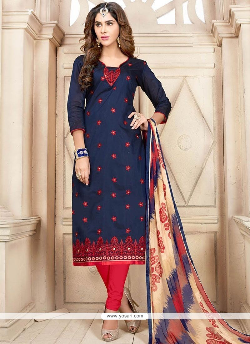 Perfervid Chanderi Cotton Embroidered Work Churidar Suit