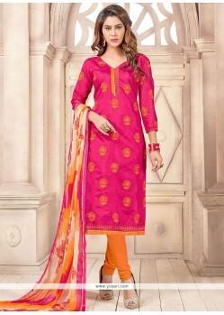 Spectacular Chanderi Cotton Hot Pink And Orange Churidar Suit