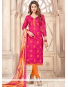 Spectacular Chanderi Cotton Hot Pink And Orange Churidar Suit