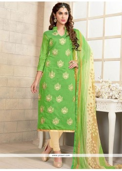 Ethnic Cream And Green Churidar Suit