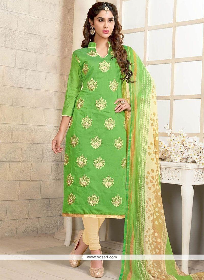 Ethnic Cream And Green Churidar Suit