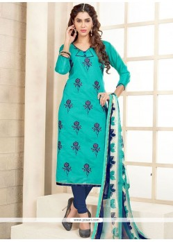 Spectacular Print Work Chanderi Cotton Churidar Suit