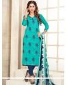 Spectacular Print Work Chanderi Cotton Churidar Suit