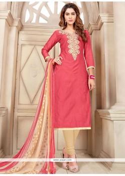 Sorcerous Rose Pink Chanderi Cotton Churidar Suit