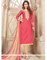 Sorcerous Rose Pink Chanderi Cotton Churidar Suit