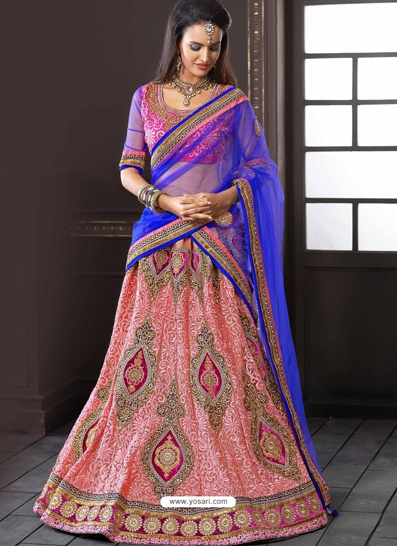Blue And Pink Net Designer Lehenga Choli