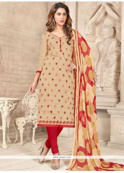 Flamboyant Embroidered Work Chanderi Cotton Churidar Suit