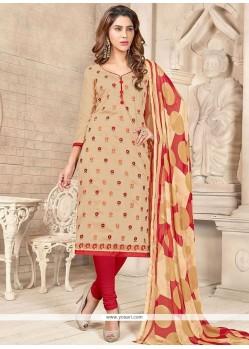 Flamboyant Embroidered Work Chanderi Cotton Churidar Suit