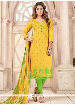 Stylish Green And Yellow Print Work Chanderi Cotton Churidar Suit