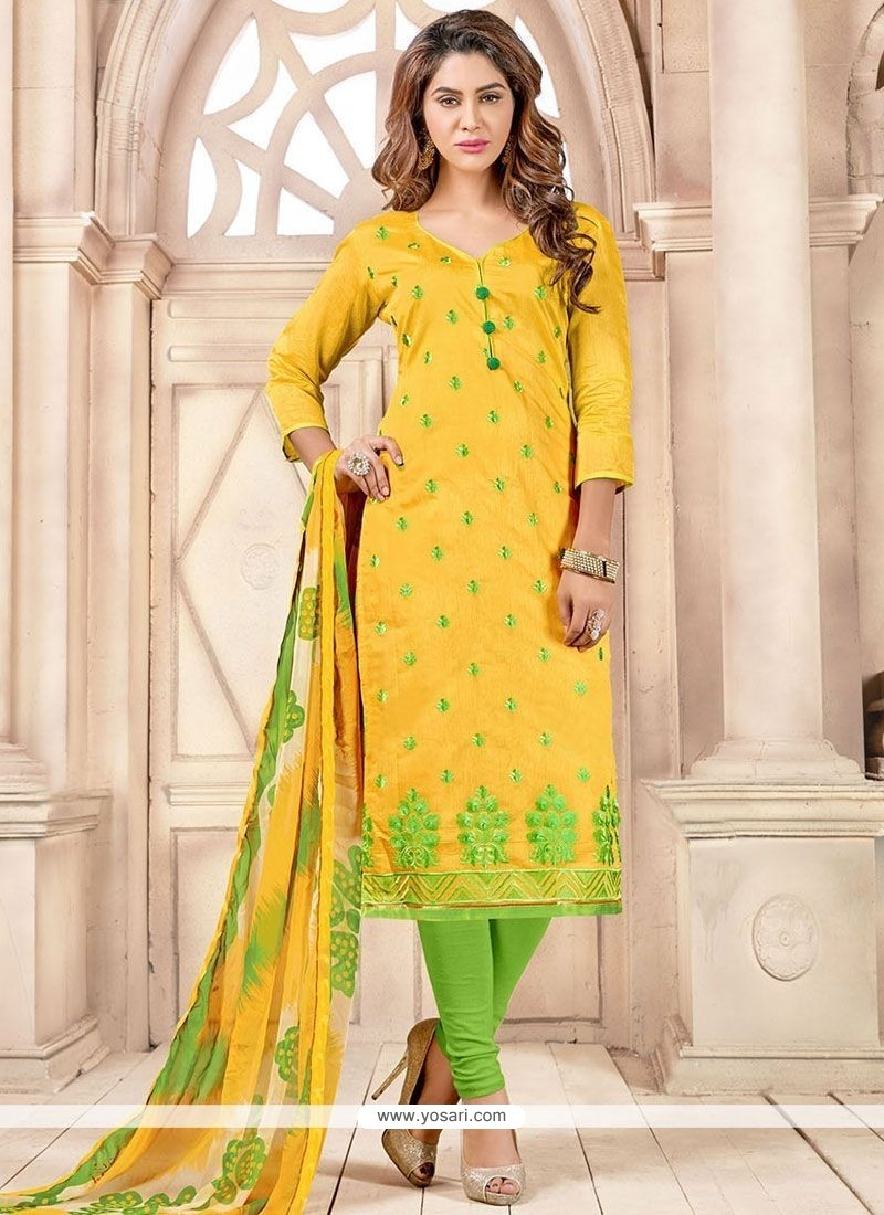 Stylish Green And Yellow Print Work Chanderi Cotton Churidar Suit