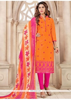 Modernistic Print Work Chanderi Cotton Hot Pink And Orange Churidar Suit