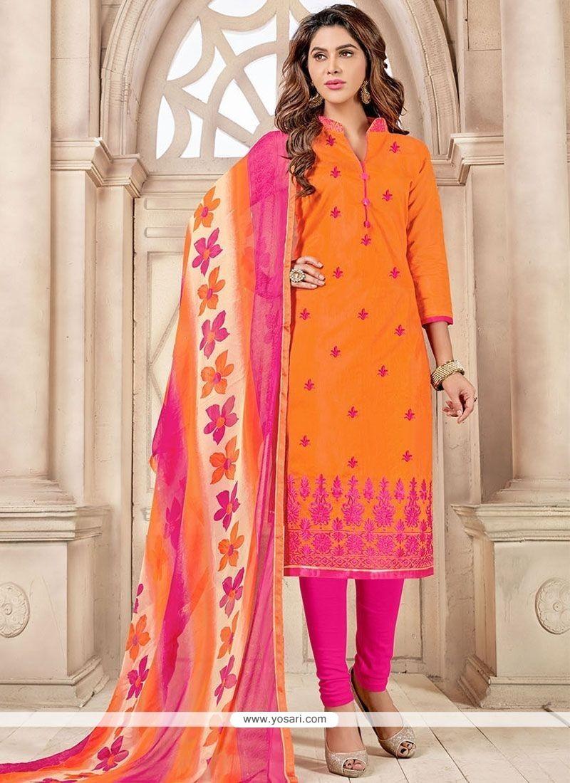 Modernistic Print Work Chanderi Cotton Hot Pink And Orange Churidar Suit
