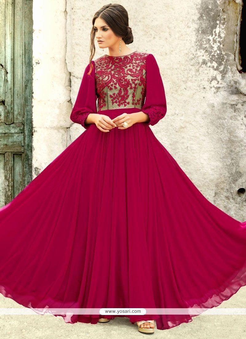 Phenomenal Resham Work Faux Georgette Readymade Gown