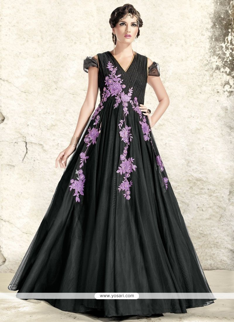 Riveting Black Resham Work Readymade Gown